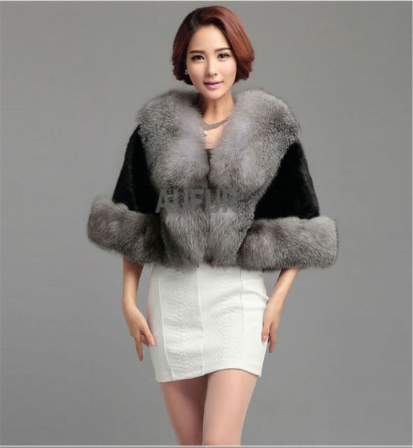 Real Mink Fur Shawl with Fox Fur Collar Black Fur Wedding Shawl Bridal Fur Poncho Dress Evening Wrap Coat AU00406