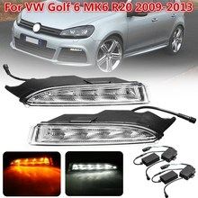 Led Drl For VW Golf 6 MK6 R20 2009 2010 2011 2012 2013 Daytime Running Light Front Bumper Driving Fog Lamp Daylight  Turn Signal