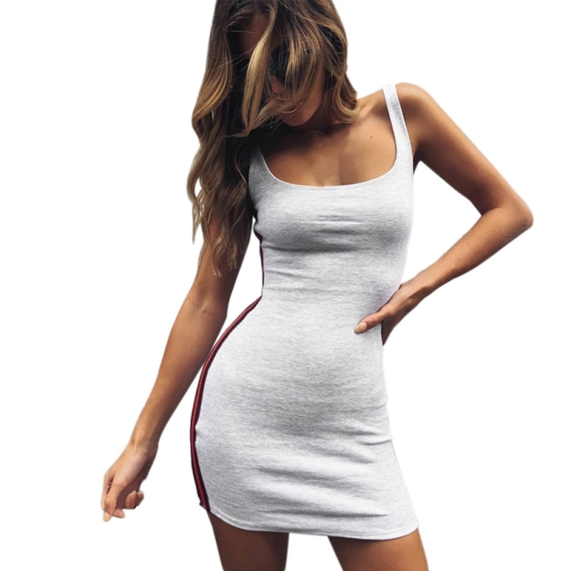 Summer Grey Spaghetti Strap Backless Bodycon Dress Sleeveless Sexy Slim Pencil Dresses Side Striped Square Collar Vestidos
