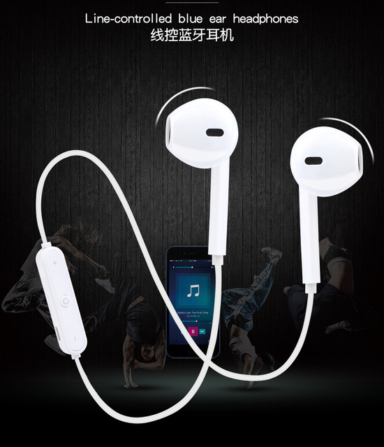 S6 Sport Wireless Earphone Neckband Bluetooth Earphone Line-controlled Headphone For Phone with Mic Headset For Xiaomi huawei
