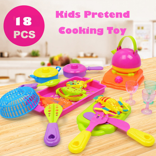 18pcs Children Pretend Role Play Stove Kitchen Appliance Toy Set Fun Pretend Cooking Food Kids Pretend Play Toy Gift T6#