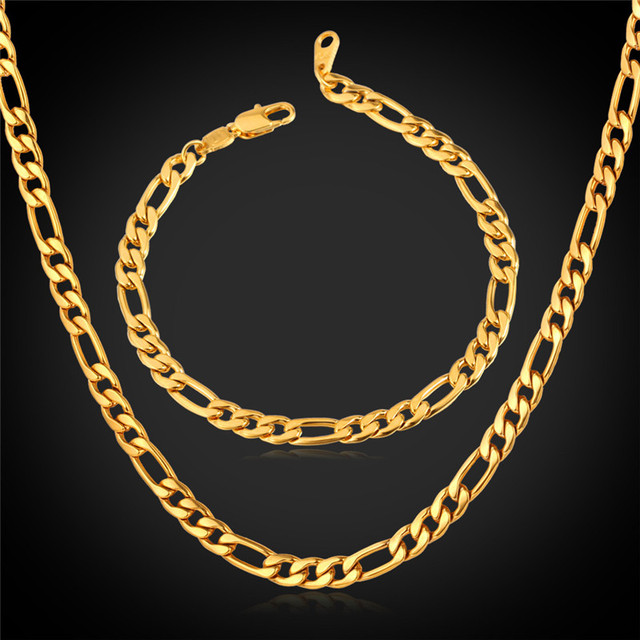 Collare 316L Stainless Steel Jewelry Sets For Men Gold/Black Color Necklace Bracelet Set Figaro Chain Men Jewelry Wholesale S521
