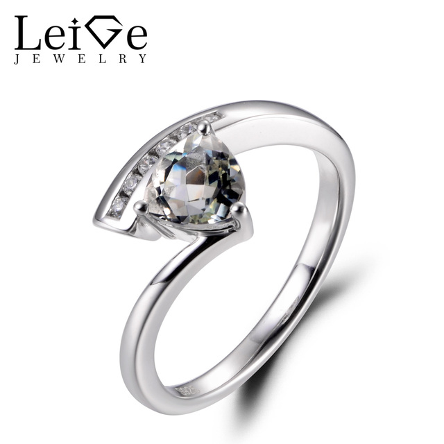 LeiGe Jewelry Natural Green Amethyst Rings Anniversary Rings Trillion Cut Green Gems Ring Real 925 Sterling Silver Fine Jewelry