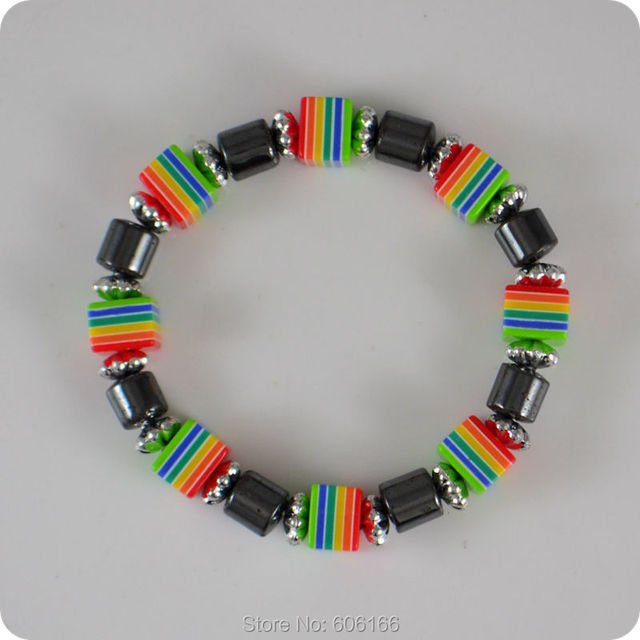 20x Square Rainbow Candy Colors Hematite bracelet Bohemia Sweet and Cute Girl party gift Fashion jewelry wholesale