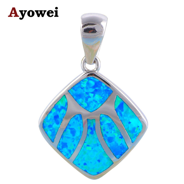 Excellent Pendant Birthday gift Wholesale Retail Blue Fire Opal stamp Silver Necklaces Pendants Fashion jewelry OPS540A