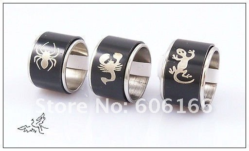 Wholesale 15mm Width Black Spin Men's Rings Stainless Steel Ring Fashion Jewelry 17#--22# Mixed Order