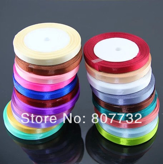 "High Quality Coloured Ribbon, 3/8"" (1cm) Width, 25Yards/Roll, Hundreds of Colors, Wedding Decoration"
