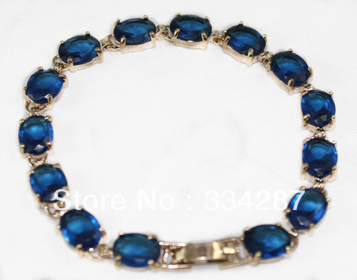 Free shipping Fine Jewelry  yellow color GP Blue Crystal Bracelet