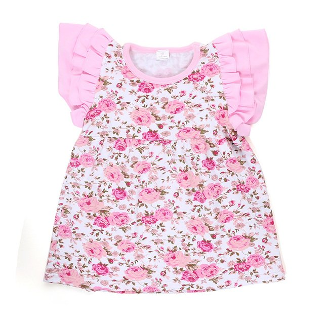Newest Posh Summer Girls T Shirts Floral Print Kids Top Fly Sleeve Chicken Toddler Tees Fashion Children Tops Children Clothes