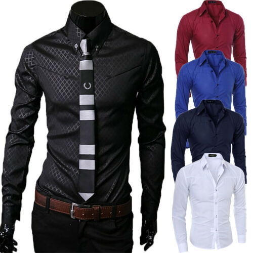 Men's Long Sleeve Slim Fit Dress Shirt Business Work Formal Party Tops Male Solid Turn Down Collar Formal Shirts Male Clothing