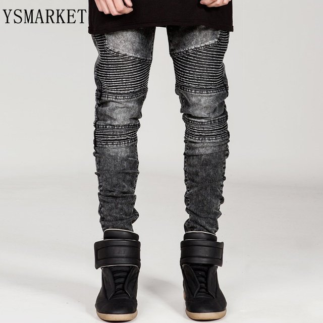 Plus Size Famous Brand Men Black Solid Straight Slim Fit Biker Jeans Pant Denim Trousers Jeans Ripped skinny Jeans E6601