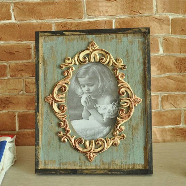 Household Vintage Wooden Photo Frame Ornaments Retro Desktop Picture Frame Crafts Home Decoration Friend Birthday Wedding Gifts