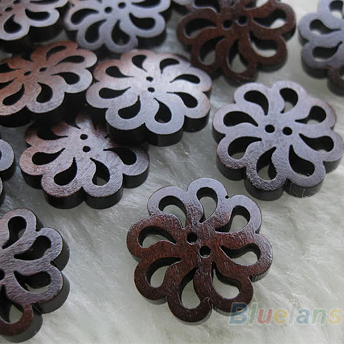 40x New flower Wood Buttons 20mm Sewing Craft 2 Holes Sewing Wooden Buttons Clothes Scrapbooking Decorative DIY Craft Buttons
