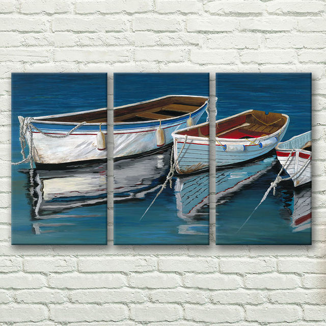 hand-painted stretched  framed oil wall art   lake boat  home decoration  Landscape canvas oil painting 3pcs a set