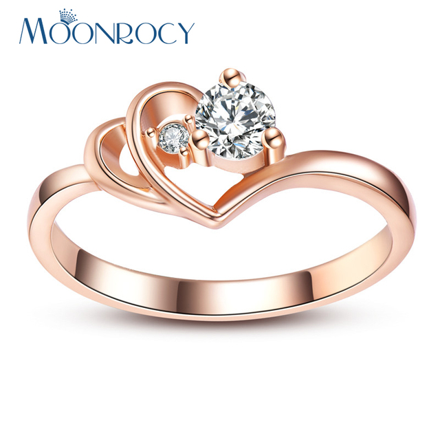 MOONROCY Drop Shipping  Fashion Jewelry Wholesale Rose Gold Color Wedding Crystal Rings for Women Girls Fashion Wedding Gift