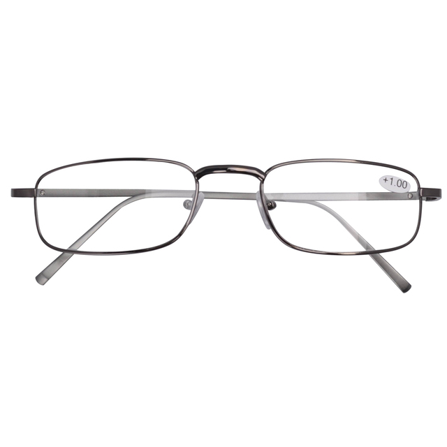 FR004 Spring Hinged Aluminum Arms Reading Glasses Include Case and Cord Gun Arms