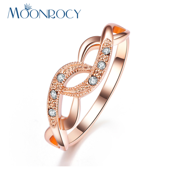 MOONROCY Free Shipping Fashion Jewelry Wholesale Rose Gold Color Austrian Crystal Wedding Ring for Women Gift Drop Shipping