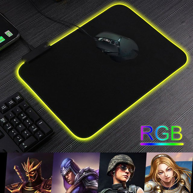 Rubber Protector Mat Mouse Mat RGB Mouse Pad Gaming Durable Home