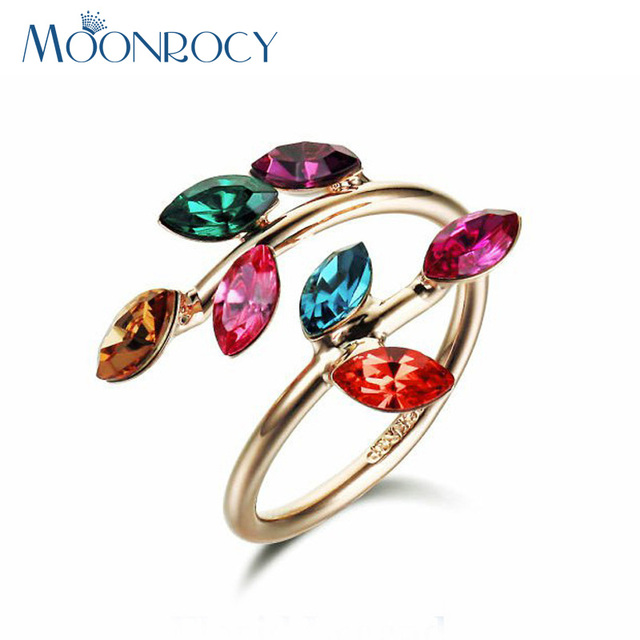MOONROCY Drop Shipping Fashion Cubic Zirconia Crystal Rings For Women Jewelry Rose Gold Color colorized Wedding Ring for Women