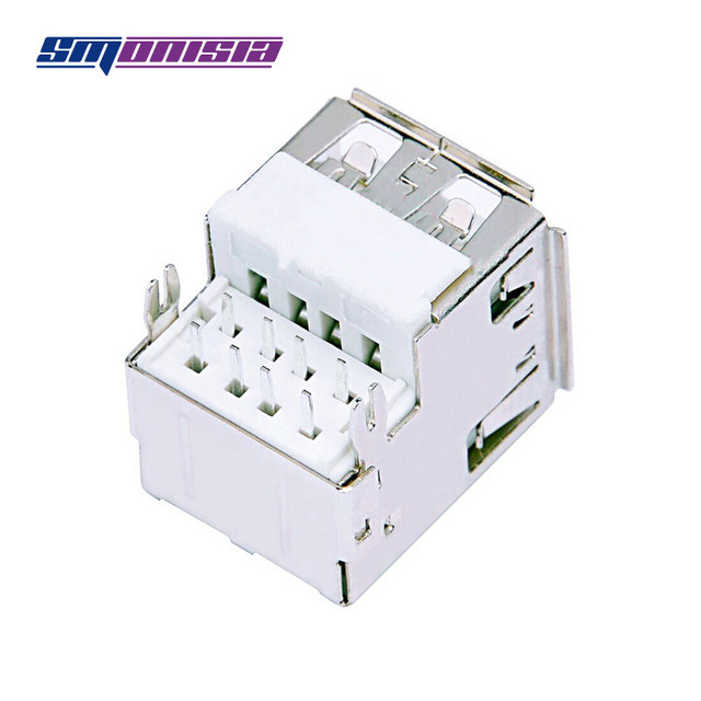 100pcs Plate type Double USB Type-A Jack 90degrees 2.0 USB Socket Female Jack with Crimping