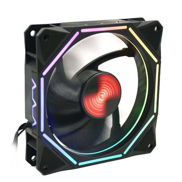 Quiet Computer Case Fan Game Player with Remote + Control Panel RGB Cooling Fan Stand Colorful CPU Computer Fan Computer