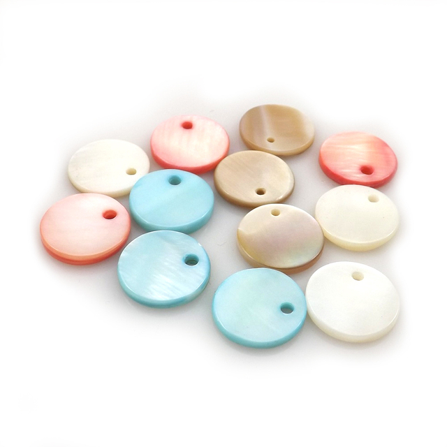 Mixed Colors Round Shell Pendant Fashion Shell Jewelry Findings Earring Charms 100pcs