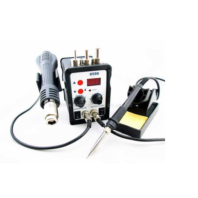 1PC Best Selling 220V 8586 2in1 Rework Station Hot Air Gun + Solder Iron,8586 Hot air soldering station 700W