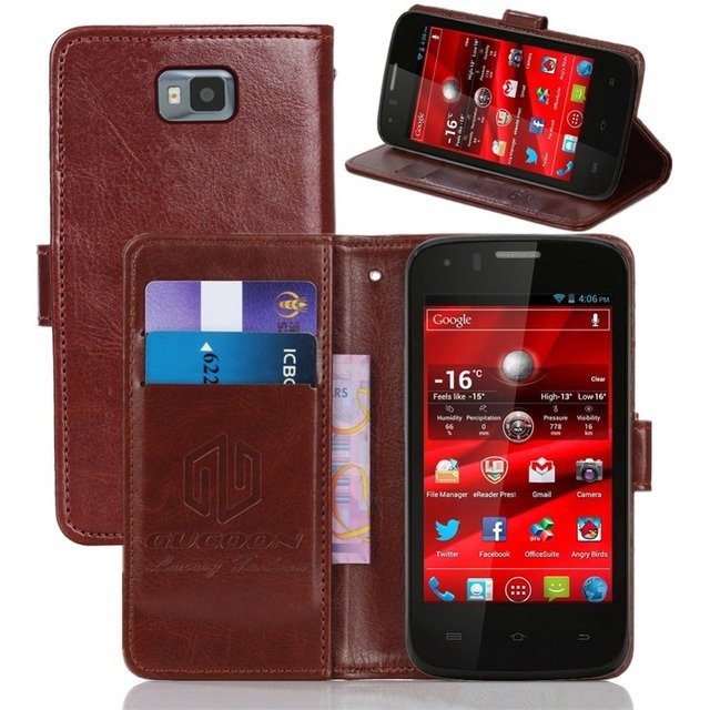 GUCOON Vintage Wallet Case for Prestigio MultiPhone 4055 DUO 4.0inch PU Leather Retro Flip Cover Magnetic Fashion Cases