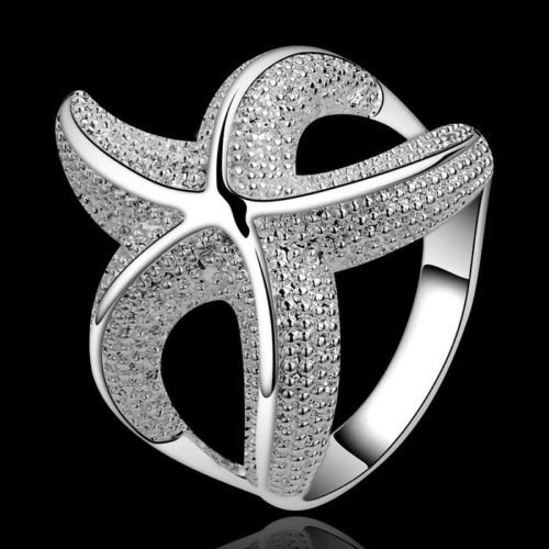Brilliant quality Girl's Delicate Jewelry Gift Silver Plated Copper Starfish Ring with a funny design 5CXN