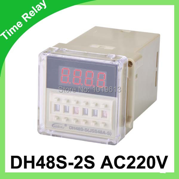 AC 220V digital time relay time delay relay socket relay DH48S-2S