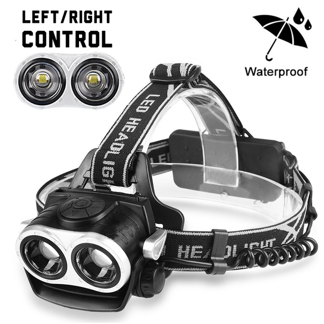 LED Headlamp Headlight 2* T6 30000LM Fishing Head Lamp Flashlight Rechargeable 18650 USB Torch Frontal Outdoor Camping Hunting