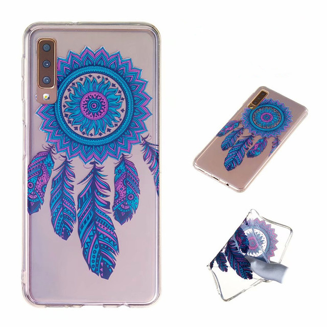 Mandala Flower Soft TPU Cover For Samsung Galaxy A7 2018 6 inch Luxury Printing Pattern Ultra Thin Phone Case Fundas Accessories