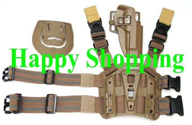 M92 tactical puttee thigh belt drop Leg holster pouch Tan for right hand
