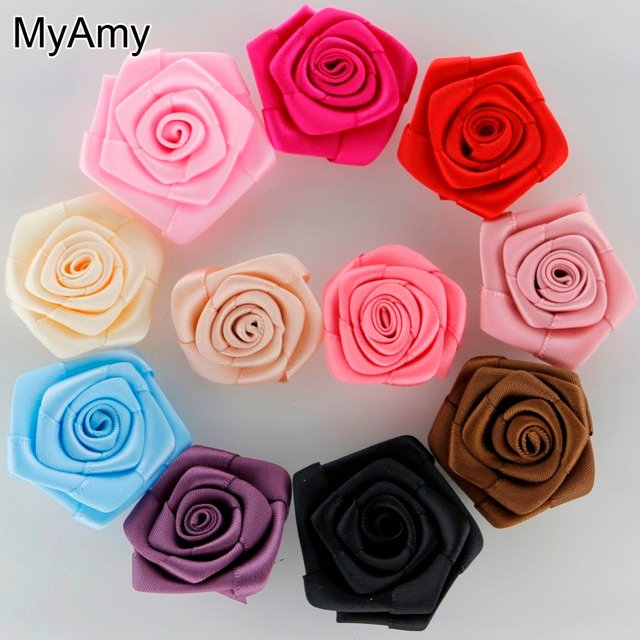 MyAmy 260pcs/lot 1.5 Inch Satin Rosettes Children Boutique Shoes/Clothing/Hair Accessories Baby Girls DIY Rose Flowers
