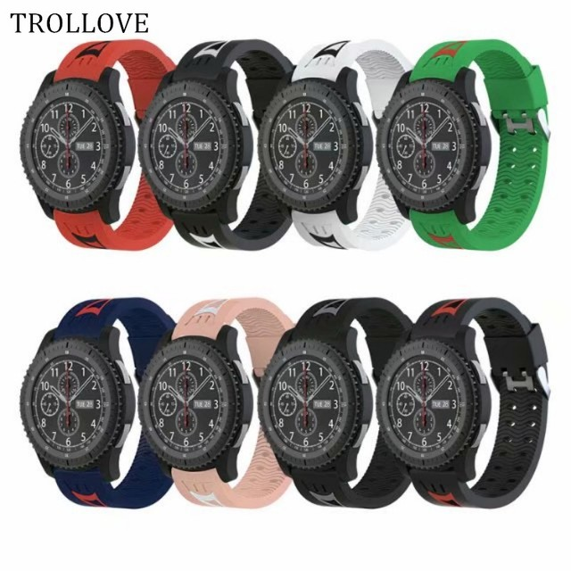 TROLLOVE Soft Silicone Watchband for Gear S3 Classic/ Frontier 22mm Watch Band Strap Replacement Bracelet for Samsung Gear S3