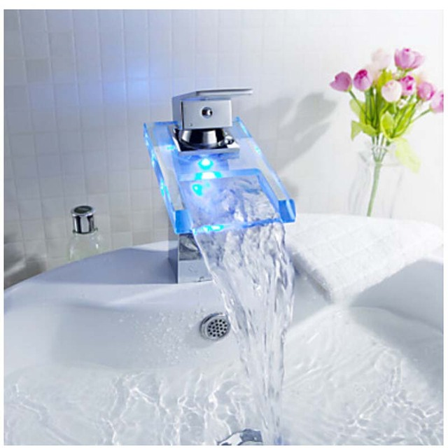Luxury Free Shipping LED Color Changing Basin Faucet Bathroom Deck Mount Waterfall Glass Mixer Taps Chrome Basin Faucet LED Tap