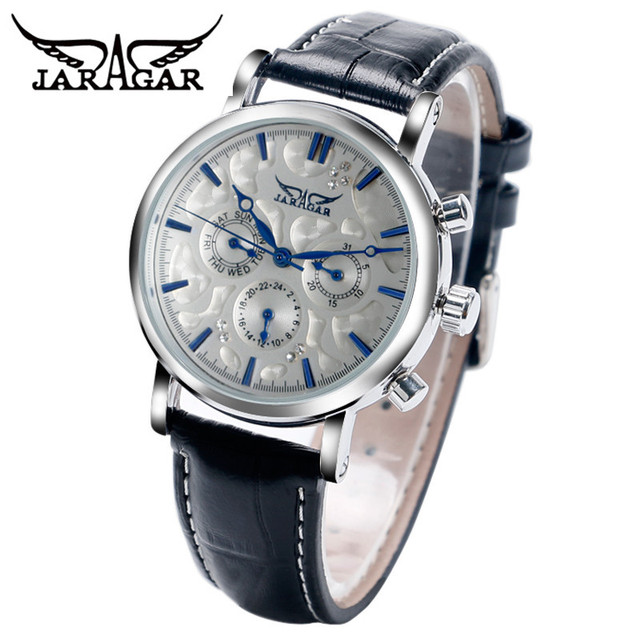 2017 JARAGAR Luxury Orologio Uomo Men's 6 Hands Auto Mechanical Watches PU Leather Wristwatch Free Ship