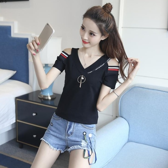Fashion Tee Ulzzang 95% Cotton Women T-Shirts for Women Letters Embroidery Summer V Neck Tops Slim Short Sleeve Female T Shirt