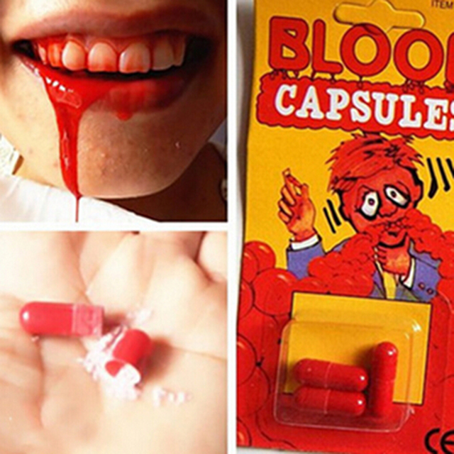 1Set New Funny Blood Pill Trick Toys Whimsy Prop Vomiting Blood Capsule April Fool's Day Joke Toys