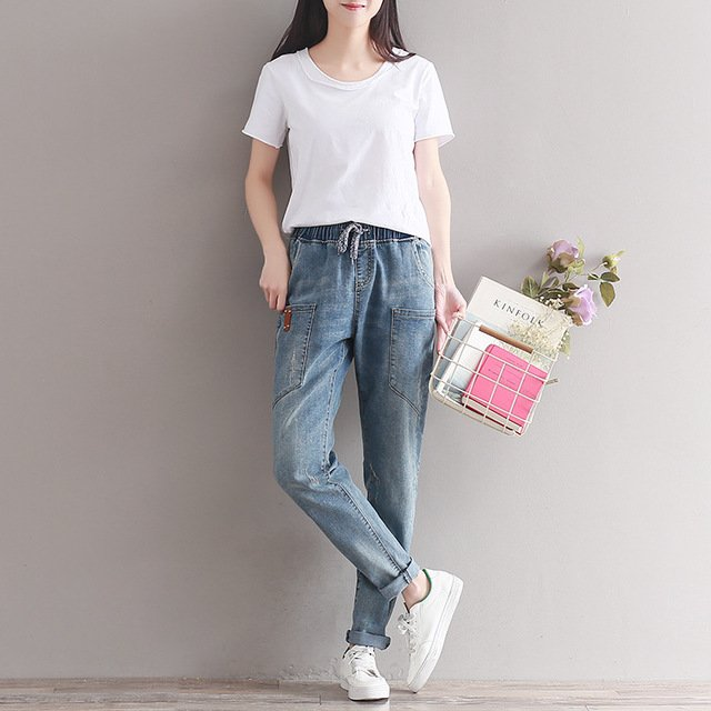Women Summer Loose Elastic Waist Jeans 2017 High Quality Large size Denim Trousers Fashion New Female Slim-type Denim Pants
