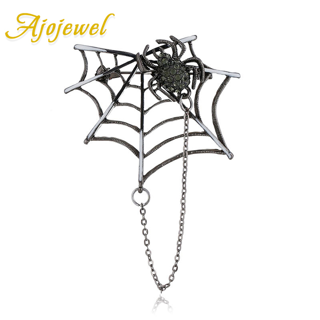 Ajojewel Retro Style Spider Web and Spider Rhinestone Brooch Animal Jewelry For Women Men Accessories Wholesale