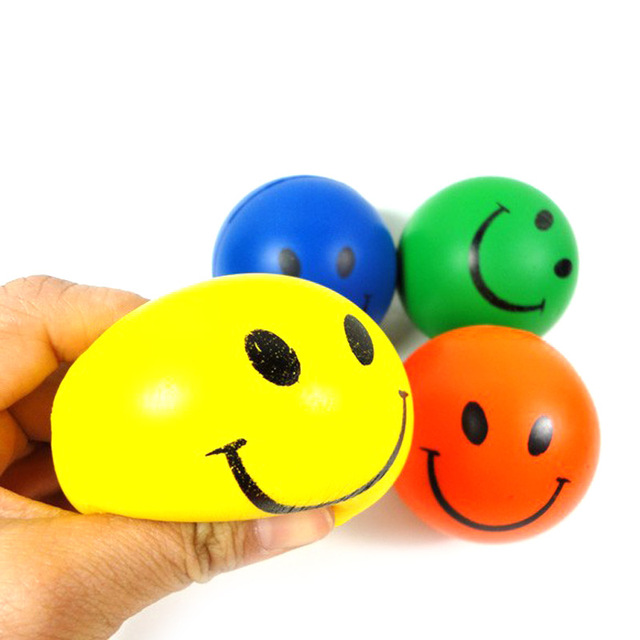 Smile Face Print Sponge Foam Squeeze Stress Ball Relief Fitness Toy Hand Wrist Exercise PU Rubber Toy Balls Random Color @Z179