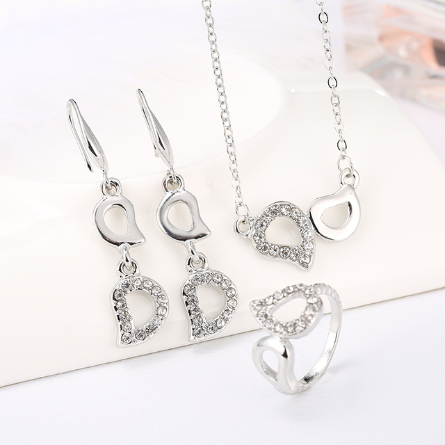 2017 Fashion Gold & Silver Plated Crystal Heart Shape Letter D Fashion Costume Jewelry Sets for Women Necklace Earrings RIng