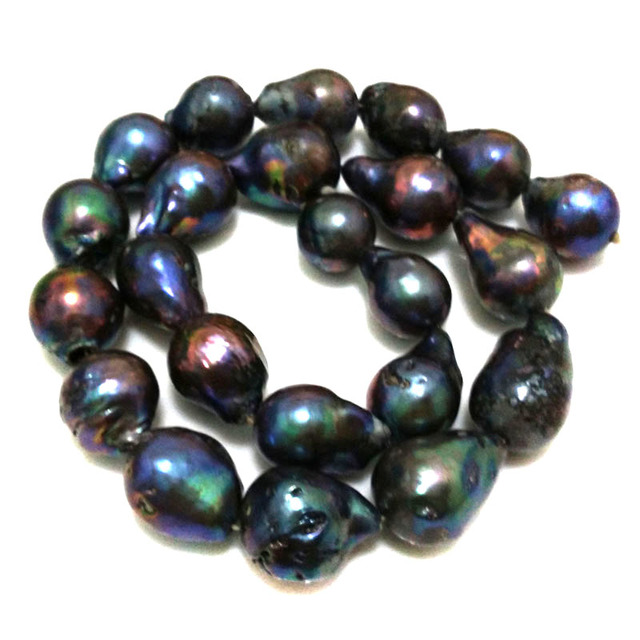 16 inches 15-20mm AA+ Black Natural Nucleated Large Raindrop Baroque Pearl Loose Strand