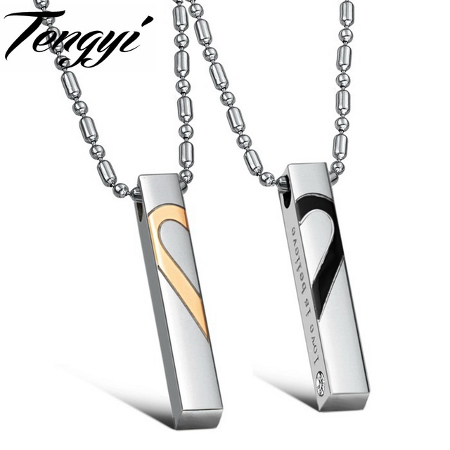brand new Super deal stainless steel couples pendant necklace fashion jewelry For lovers 10 pairs/lot free shipping 697
