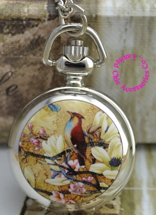 wholesale buyer price good quality silver classic sketch drawing bird flower pocket chain watch necklace hour clock antibrittle