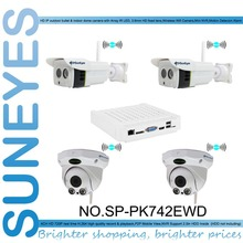 SunEyes SP-PK742EWD Wireless IP Camera Kit and NVR with 2pcs Outdoor Wifi Bullet IP Camera and 2pcs Indoor Wifi Dome IP Camera