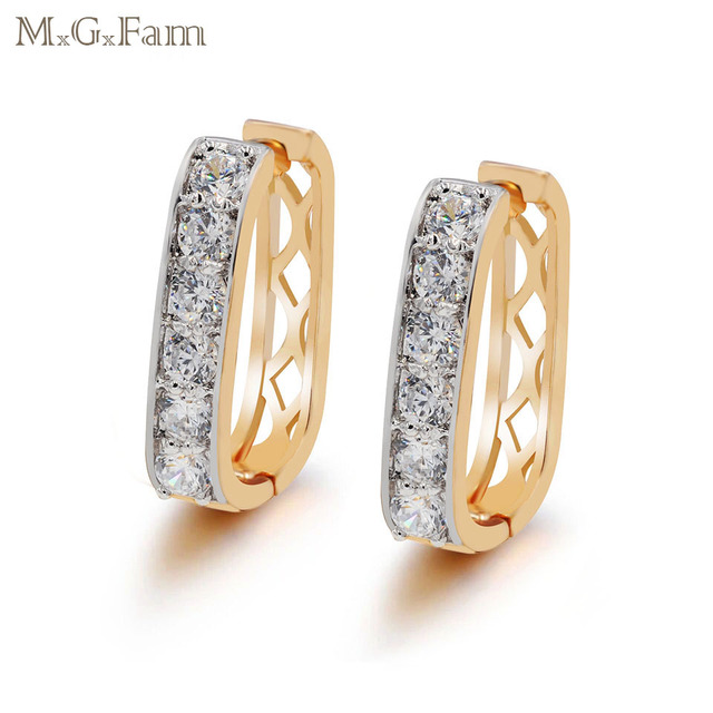 MxGxFam (factory sale ) Square Hoop Earrings For Women Mix Gold Color Top Quality AAA+ CZ