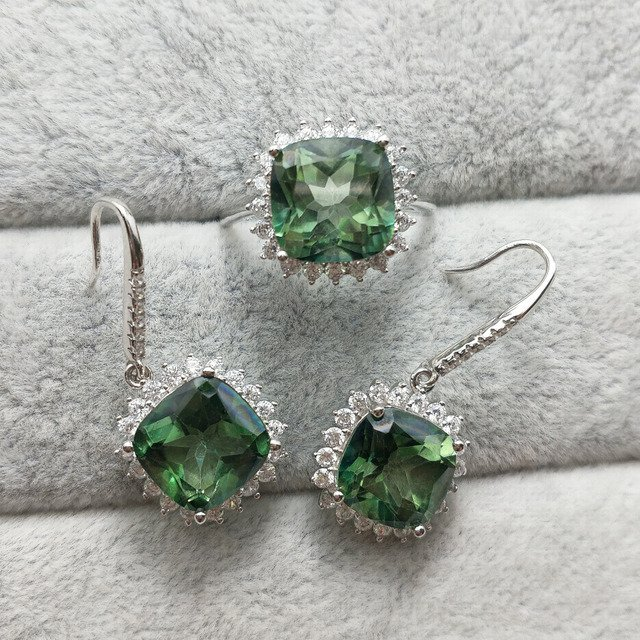 FLZB, Trendy jewelry set Earring and Ring 100% Natural Green Topaz Gemstone Charming Cutting 8*8 mm Elegant Jewelry
