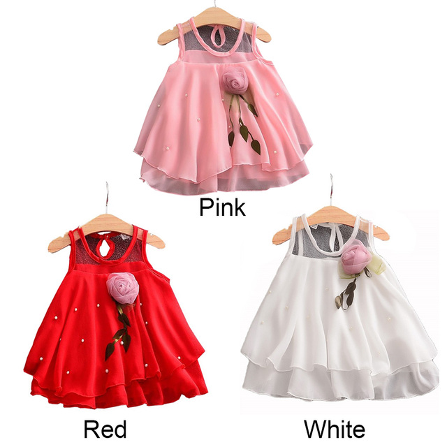 Baby girls dress Bow Tutu Dresses Pink Rose Drink Red Sleeveless  Party Princess Vacation Cute Lace Dresses
